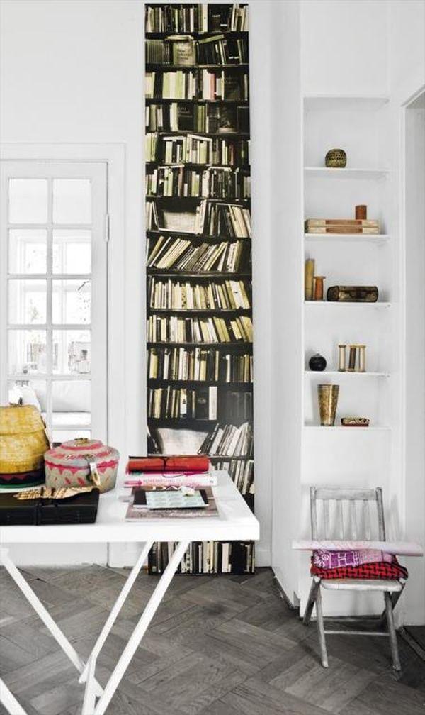 fake Bookshelf Wallpaper design 5