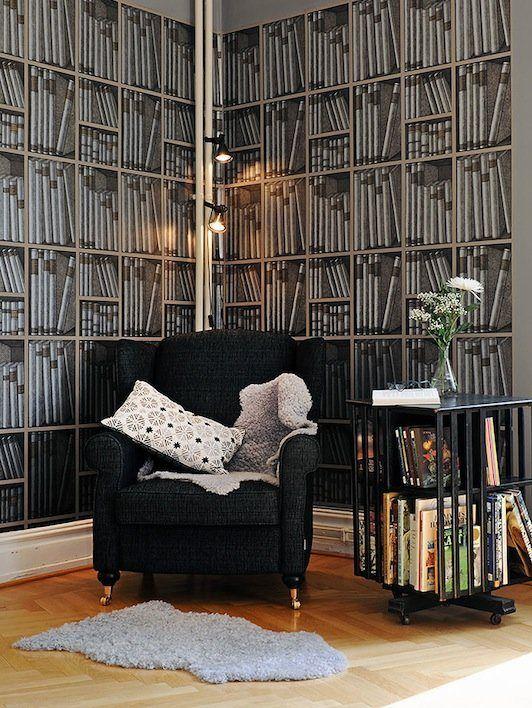 fake Bookshelf Wallpaper design 6