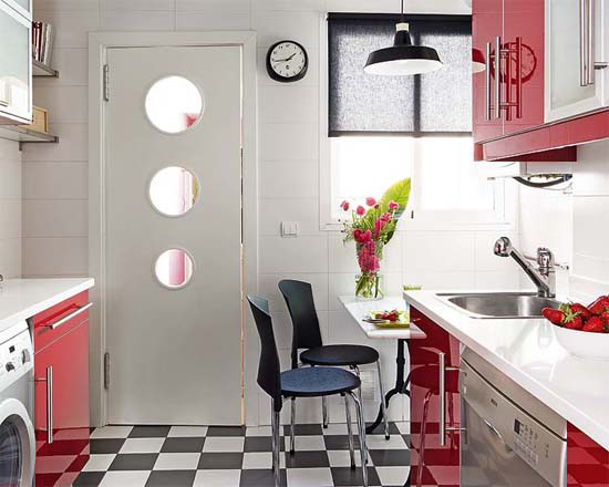 small red kitchen in Apartment in Paris