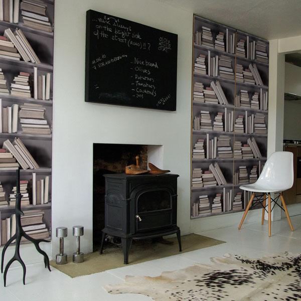 fake Bookshelf Wallpaper design