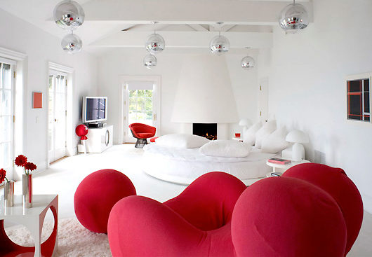 modern red and white bedroom ideas