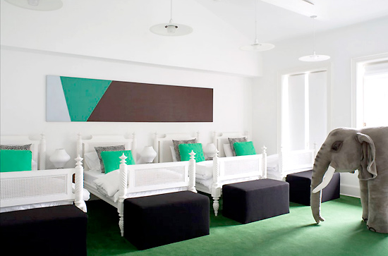 hamptons modern green bedroom