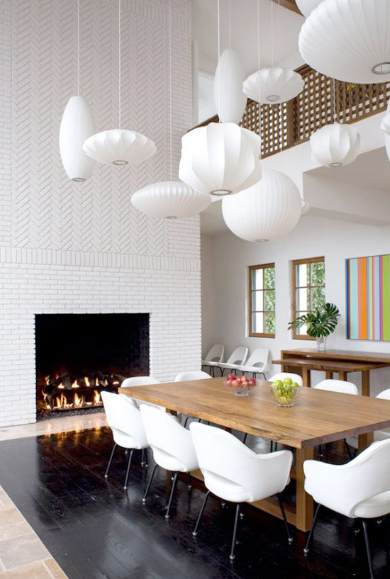 hamptons fireplace in dining room