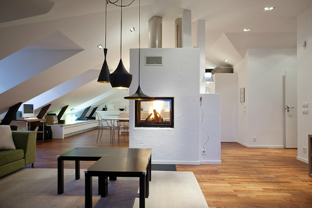 modern living room with central fireplace interior design ideas
