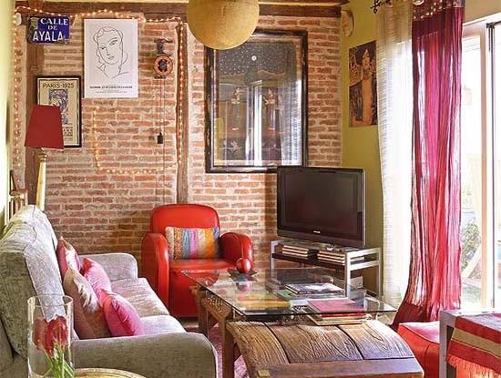 small attic pink bohemian living room design