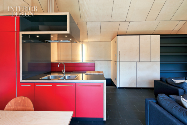 Red Kitchen with a Lacquered Birch Block 2