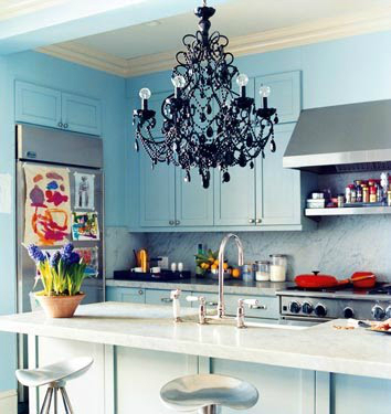 Crystal Chandelier in the Kitchen