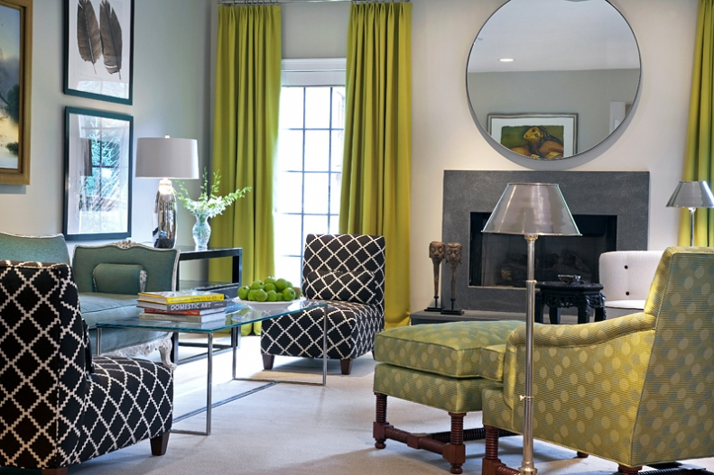 Chartreuse Green Decorating Interior Design Ideas Living Room