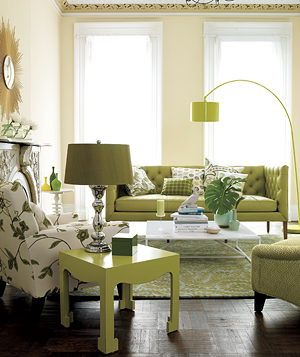 Chartreuse living rooms decoholic - Green living room ideas decorating ...