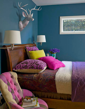 decorating deer head bedroom decorating idea