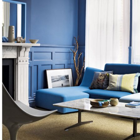 modern deep blue living room decorating ideas