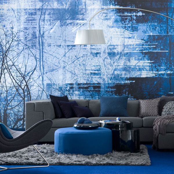 modern deep blue living room interior design ideas