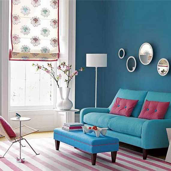 deep blue living room with a touch of red decorating ideas