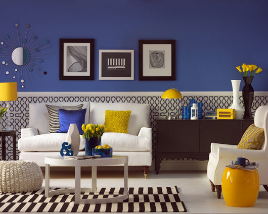 deep blue living room with yellow decorating ideas