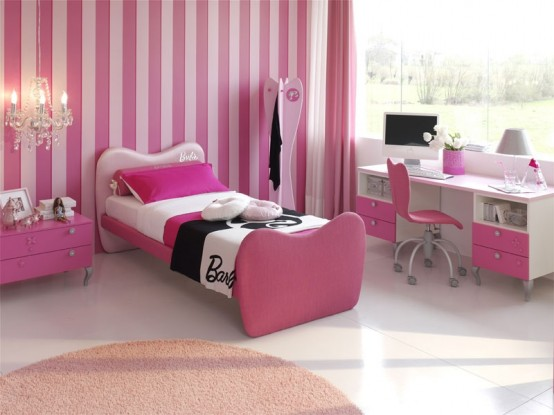 Room Design Ideas For Teenage Girl decorating bedroom for teenage girl Pink And White Tiles Wallpaper Interior Design Ideas Teenage Girls Room