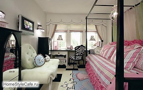 black and pink dream interior design ideas for small teenage girls room : teen-room-pictures - designwebi.com