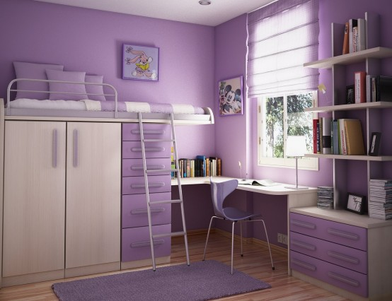 purple dream interior design ideas for small teenage girls room