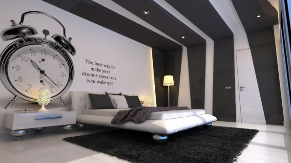 black and white bedroom design ideas with insipiration wall quote