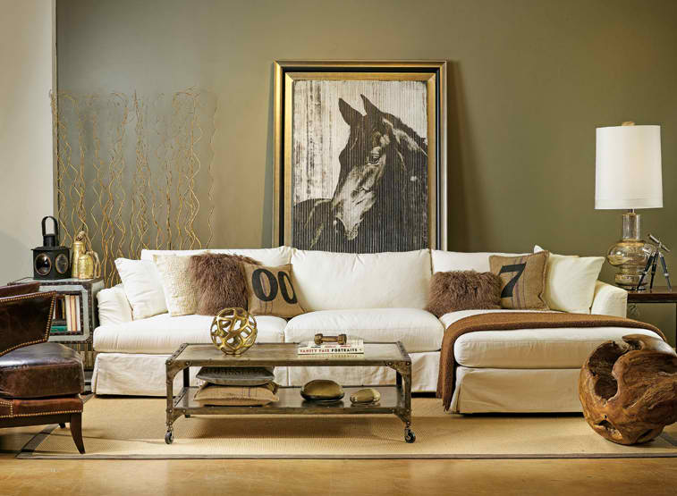 Industrial chic living rooms decoholic for Olive green living room ideas