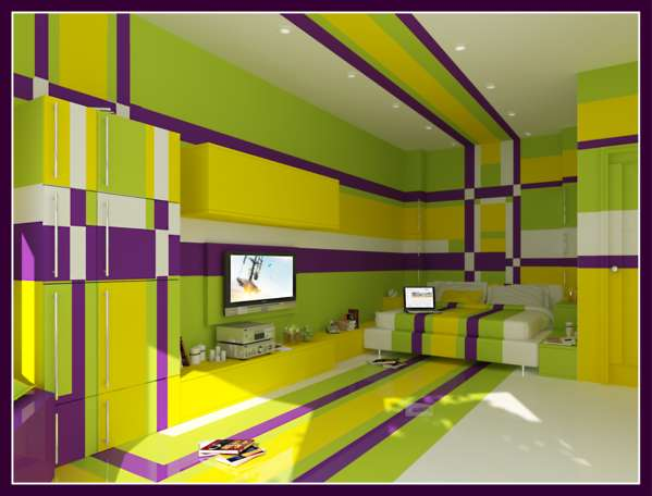 yellow and purple bedroom the hippest