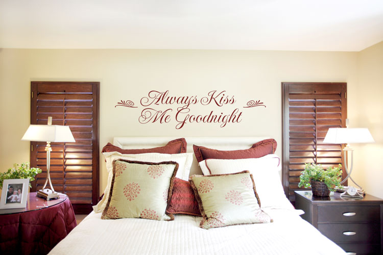 always kiss me goodnight bedroom wall sticker romantic idea bedroom wall decoration ideas decoholic - Decorating A Bedroom Wall