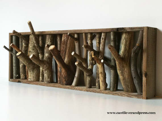 Wall Hooks by Tree Branches