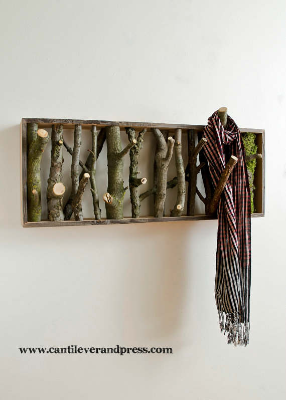 Wall Hooks by Tree Branches 2