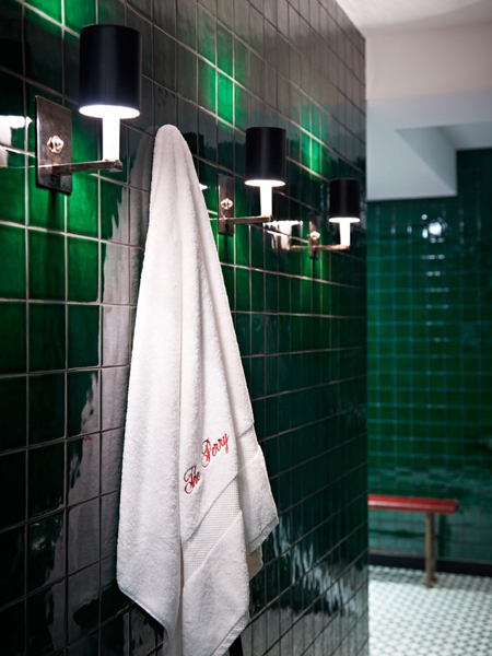 bathroom green tiles Perry Street House by Ashe + Leandro