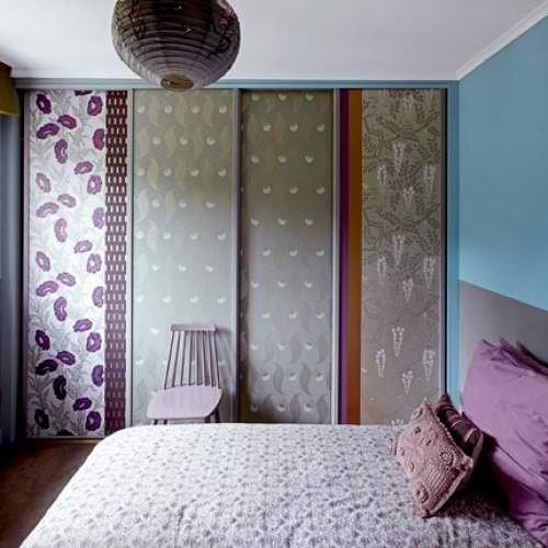 modern cute wallpapered wardrobe idea in small bedroom