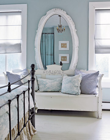 interior design with big mirror with white frame
