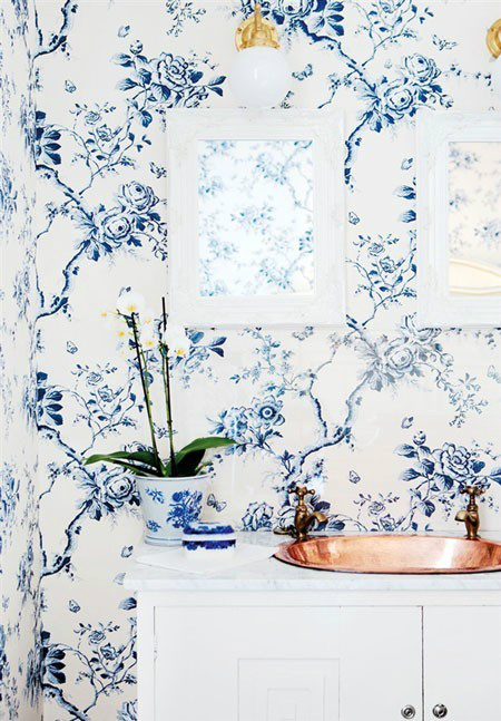 blue Floral Bathrom Design Ideas