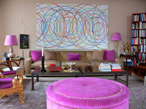 contemporary brown and purple living room design