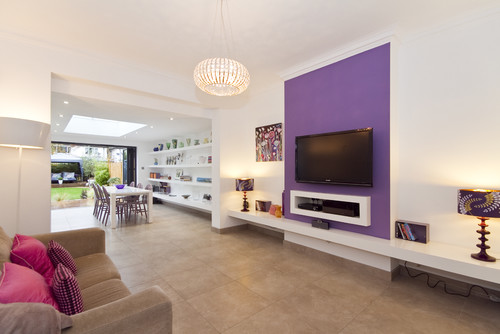 contemporary purple family room