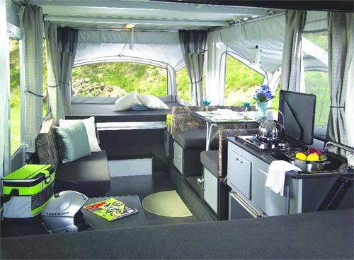 evolution camping trailer with modern interior design