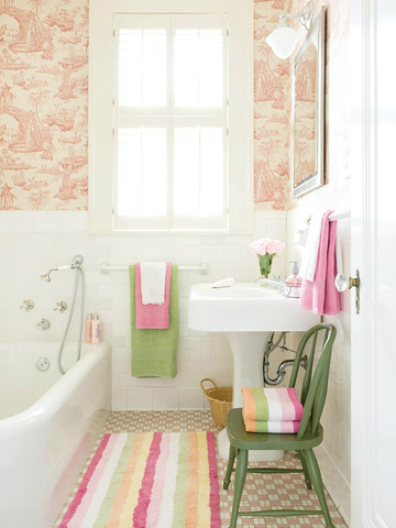 wallpaper  Floral Bathrom Design Ideas