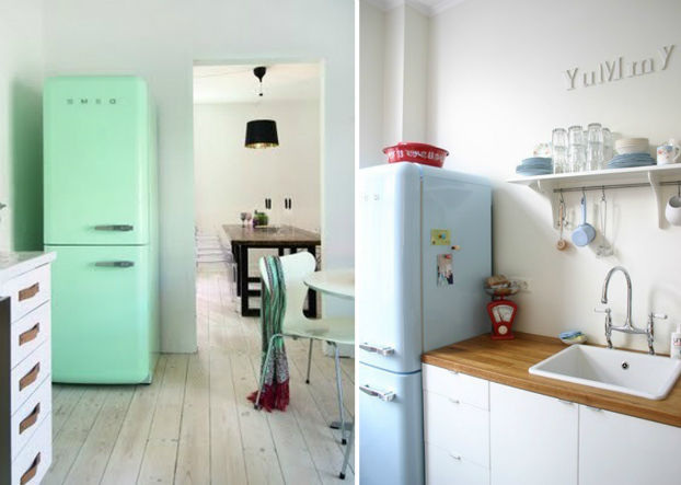 Kitchen With Pastel Smeg Fridge