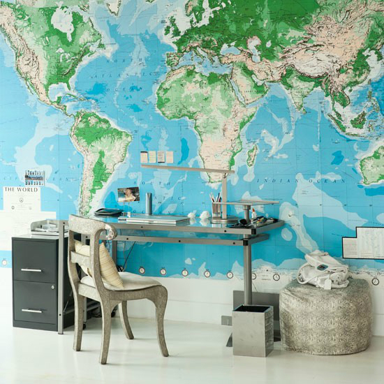 modern home offfice with map wallpaper
