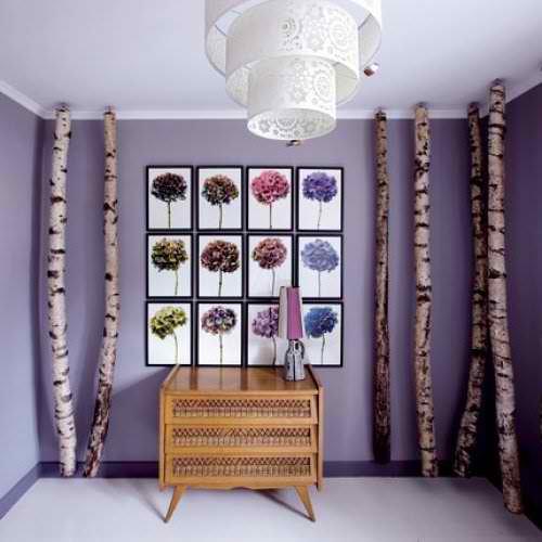 modern creative interior design idea with purple wall art and branches