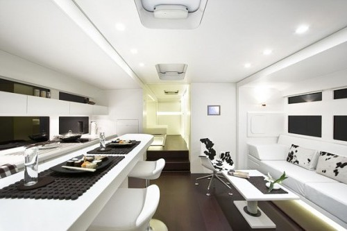 modern white mobile home trailer interior design