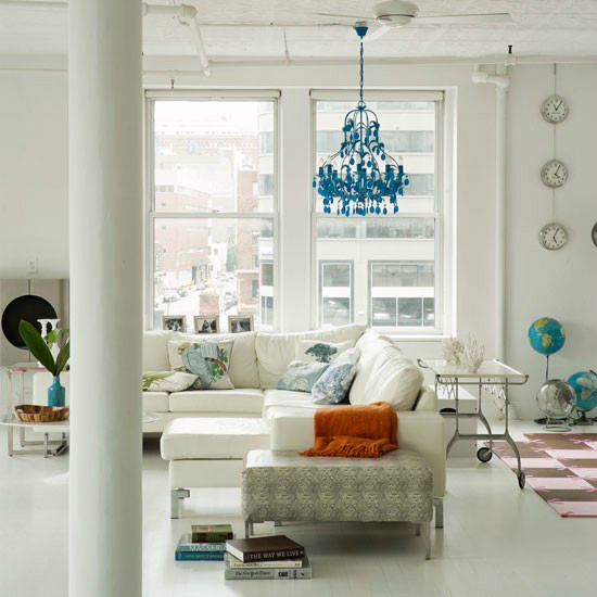 contemporary living roomModern White House with a Touch of Turquoise