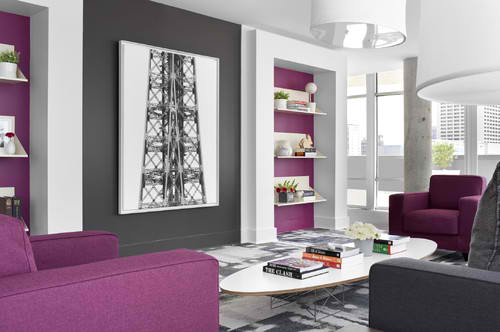 modern purple and blach living room