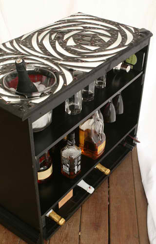 old cabinet tv recycled into a cocktail bar 2