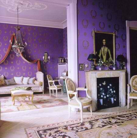 oriental purple living room decorating style