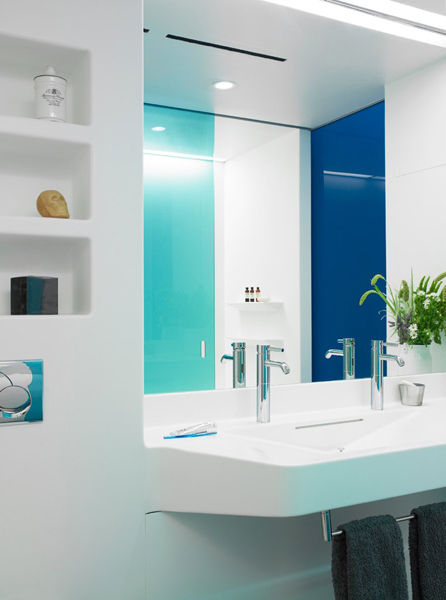 white blue bathroom Perry Street House by Ashe + Leandro