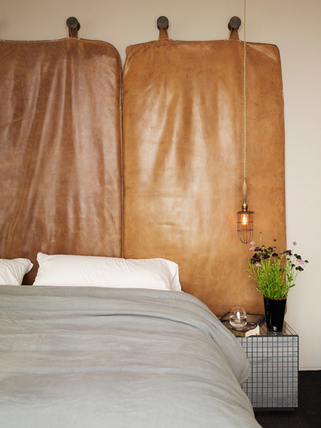 leather headboard Perry Street House by Ashe + Leandro