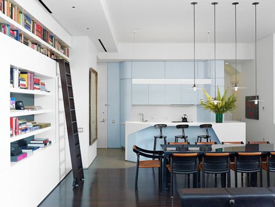 light blue contemporary kitchen Perry Street House by Ashe + Leandro