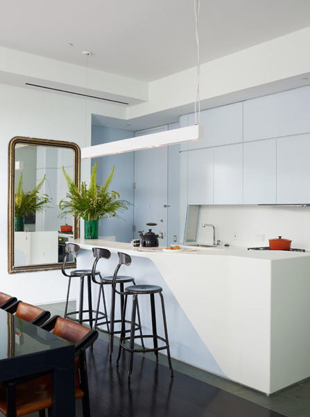 light blue contemporary kitchen Perry Street House by Ashe + Leandro2