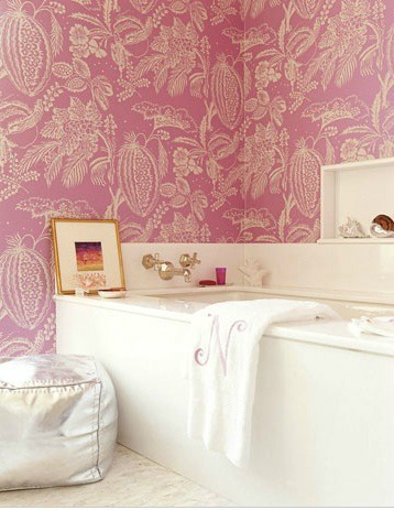pink  Floral Bathrom Design Ideas