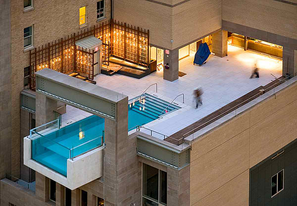 Joule hotel pool on roof garden