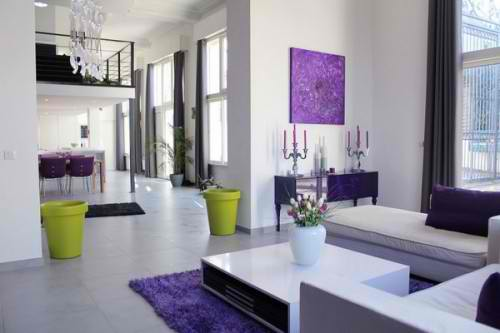 modern purple and lime green living room design 2
